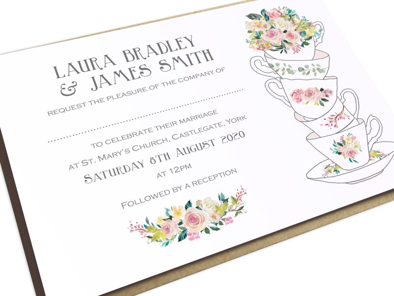 Afternoon Tea Invitation Teacup High Invite China Cup And Saucer Wedding Party Pastel