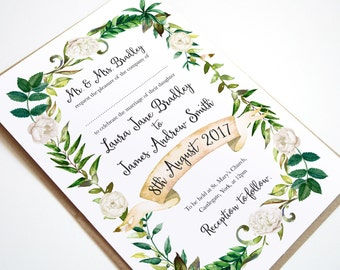 Woodland Rose Wedding Invitation - SAMPLE