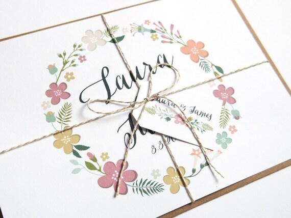 Hubsche Blumen Kranz Hochzeit Einladung Blumenkranz Hochzeit Etsy