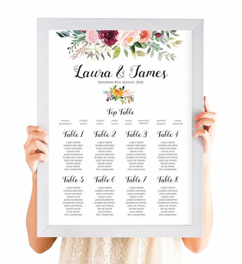 015fcf533ec Paprika Table Plan Personalised Wedding Seating Chart