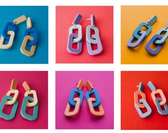 Chunky chain Pastel Acrylic Earrings - laser cut perspex for a retro and vintage vibe in contemporary colour combos