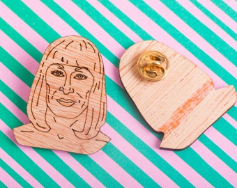 Anjelica Huston pin badge, brooch, film pin, lapel pin, movie pin, Wes Anderson fans