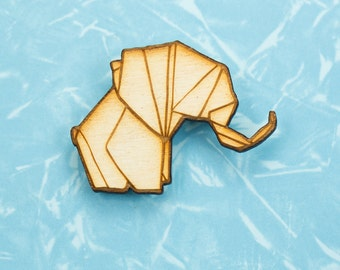 Origami Elephant -  origami pin - gift for lovers of Japan - Japanese pin badge - lapel pin - origami jewelry - elephant pin badge