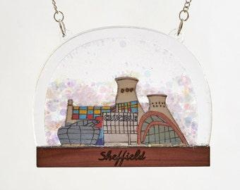 Sheffield Snow Globe Necklace - Sheffield landmarks - Sheffield necklace - architecture - Yorkshire - skyline - snow globe jewellery
