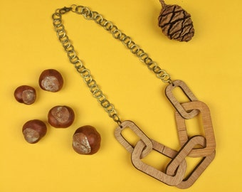 Wooden chain necklace - big links - statement necklace - autumn jewellery - luxe romantic