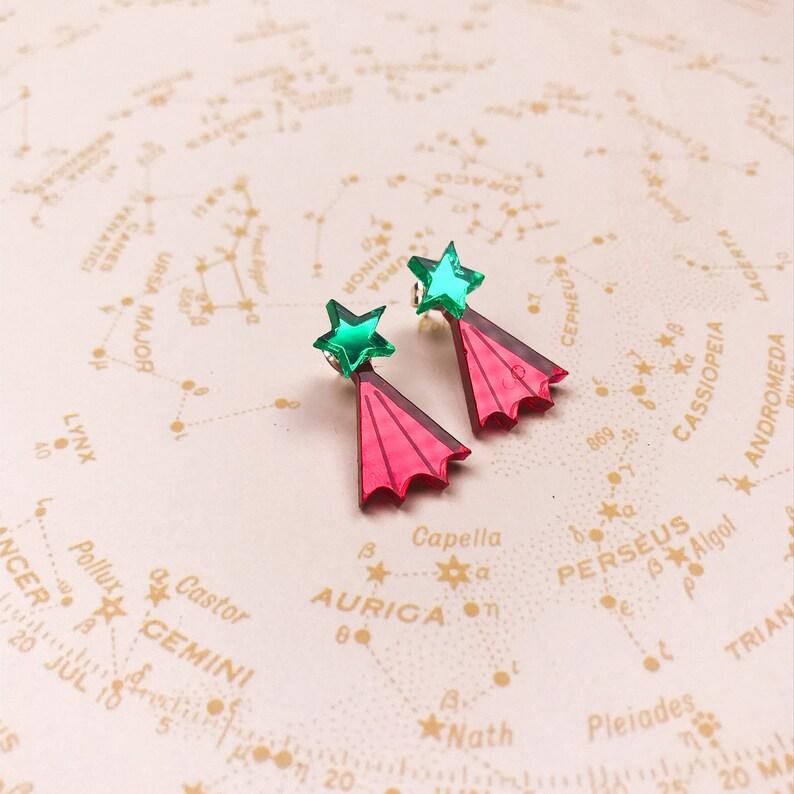 Star Ear Jacket earrings  celestial earrings  star studs  image 0