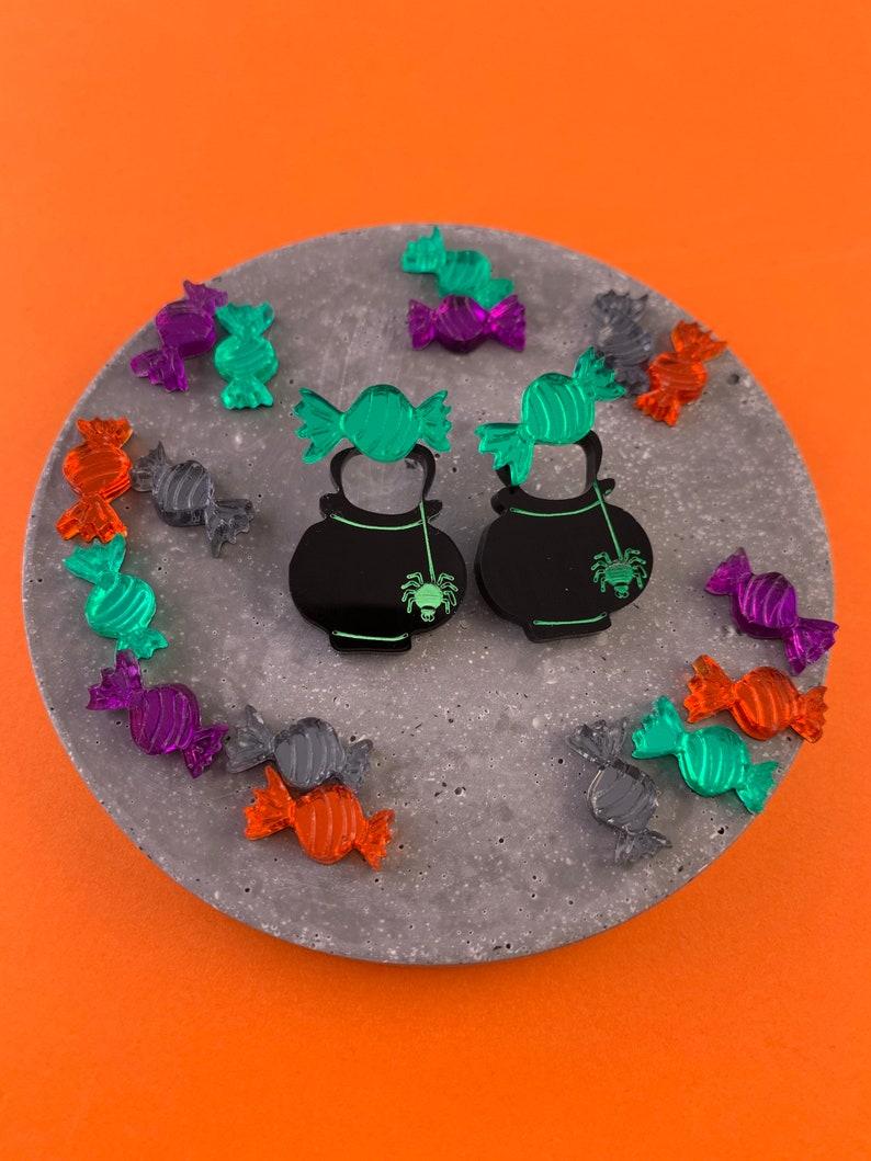 mirrored earring cat ear jackets Acrylic Halloween Cauldron earrings halloween ear jackets candy earrings sweet earrings