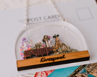 Liverpool snow globe necklace, scouser gift, rose gold chain, beatles necklace, blossom acrylic jewellery