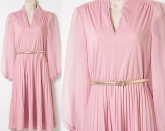 Vintage 70s Dress, Vintage Pink Dress, Vintage pleated dress, Vintage secretary dress, Vintage Sheer Dress, Mauve Pink dress - S/M