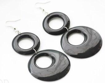 73a68178b Mod earrings, Black Hoop earrings, Mod black earrings, Vintage 60s earrings,  60s Black earrings, Black Mod earrings, tier earrings, Handmade