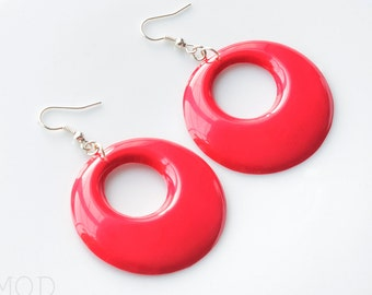 Mod earrings, 60s hoop earrings, Mod Red earrings, Mod Red Hoop earrings,Vintage 60s earrings,Red Mod Earrings,Red Dangle earrings, Handmade