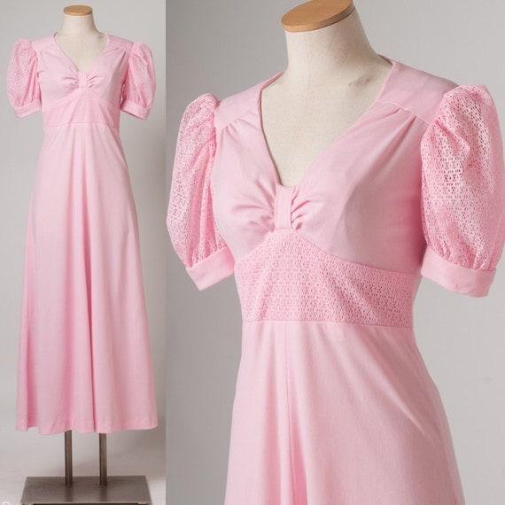 Vintage Maxi Dress, 60s Pink dress, Vintage babydo