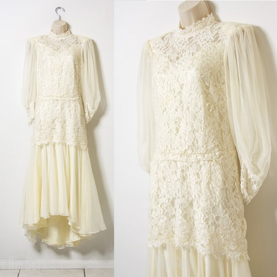 80s Dress, Vintage wedding dress, Lace Maxi Dress,