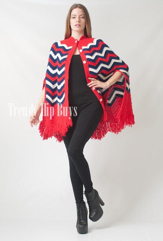 Vintage Poncho, Knit shawl, 70s Poncho, Vintage Na