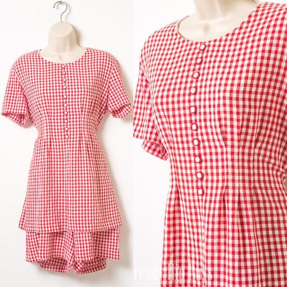 d2f3066e54e Vintage 80s Romper Vintage Red Romper Red Gingham Romper