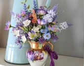 Vintage Spring Summer Arrangement Centerpiece In a Small Creamer Pitcher Pansies Violets Muscari Shades of Purple Blue  Bunny Cottage Chic