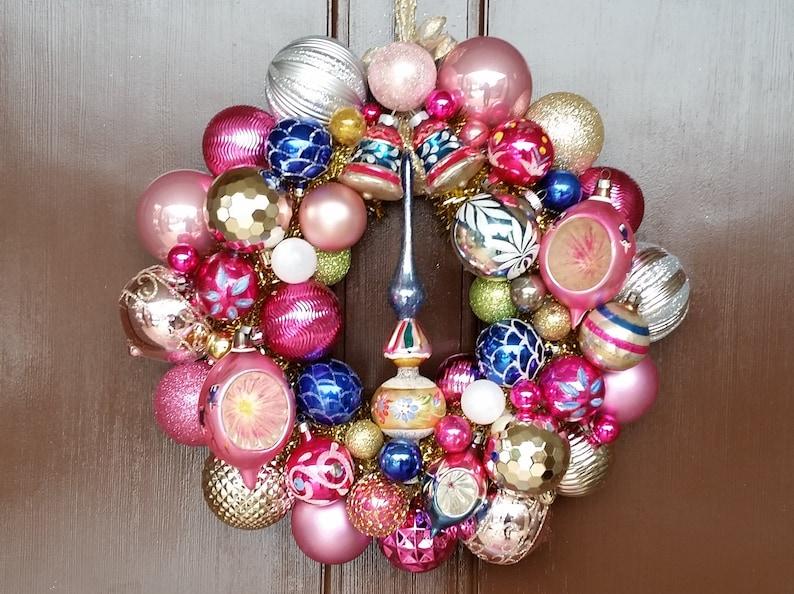 Vintage Christmas Ornament Wreath 15 Shades Of Pink Navy Blue Mercury Glass Tree Topper Winter Retro Heirloom Wall Wreath Ooak