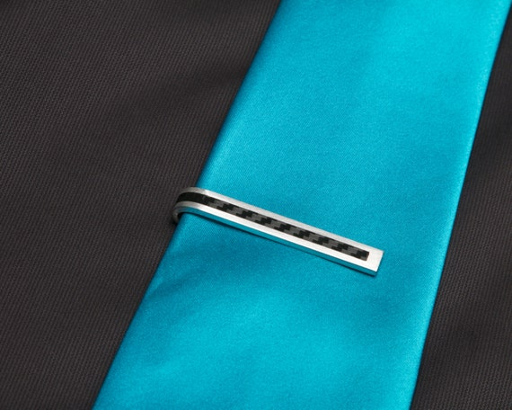 Carbon Fiber Stripe Tie Clip