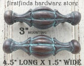 SET of 2 Rustic Door Pulls Turquoise Patina Brass Handle Metal Kitchen Farmhouse Hardware Cabinet Painted Country Chic Screws Included 3inch