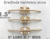 SET OF 3 Original Mid-Century Cabinet Handles Art Deco Gold Furniture Drawer Pulls Metal MCM Cupboard Hardware Screws Included 1.5inch