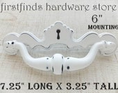 Big Faux Keyhole Hardware Drawer Pulls Shabby Chic White Handles Cupboard Kitchen Cottage Farmhouse Painted Screws Included 6inch Mounting