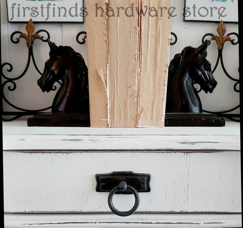 Dark Bronze Ring Pulls Rustic Iron Door Handles Back Plates image 0