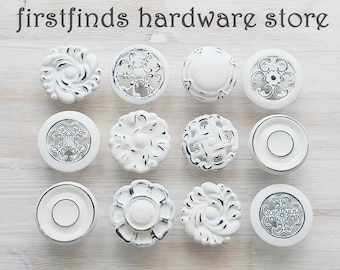 12 READY TO SHIP White Black Misfit Knobs Distressed Shabby Chic Drawer Pulls Painted Farmhouse Kitchen Cabinet Hardware Screws Included