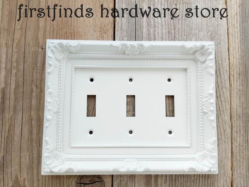 Farmhouse Light Switch Cover Plate Triple Ornate Framed Shabby image 0