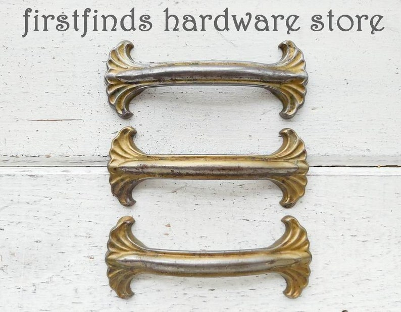 SET OF 3 Original Mid-Century Cabinet Handles Art Deco Gold image 0