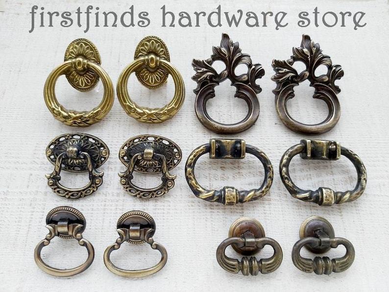 SETS OF 2 Vintage Ring Pulls Door Drawer Knobs Cabinet Kitchen image 0