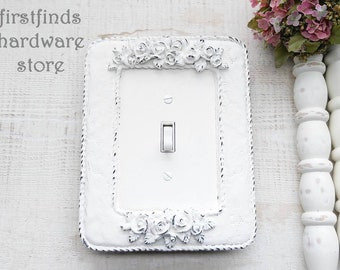 ONE of a KIND White Rose Flowers Single Light Switch Plate Shabby Chic Over-Sized Electrical Cover Framed Painted Toggle Screws Included