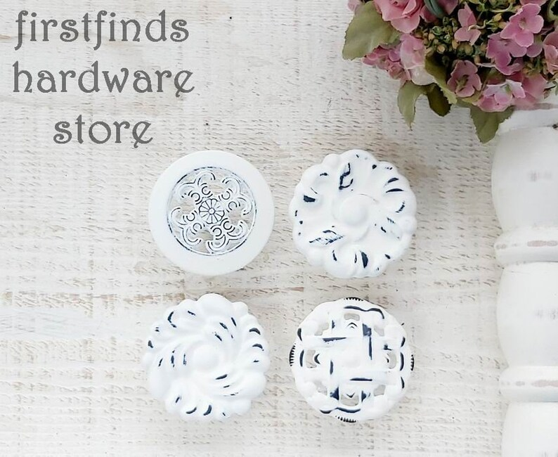 SETS OF 2 Shabby Chic White Furniture Knobs Cabinet Door Pulls image 0