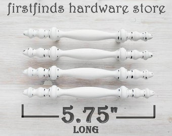 Distressed or Solid White Shabby Chic Finial Handles Farmhouse Drawer Pulls Painted Kitchen Cabinet Door Hardware Screws Included 3inch