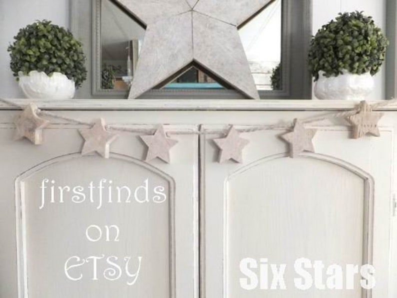 6 Star Christmas Garland Hand Cut From Reclaimed Wood Shabby image 0