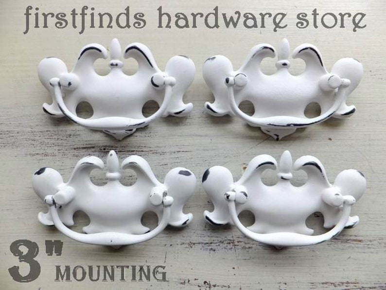 SETS OF 4 Chippendale Handles White Shabby Chic Furniture image 0