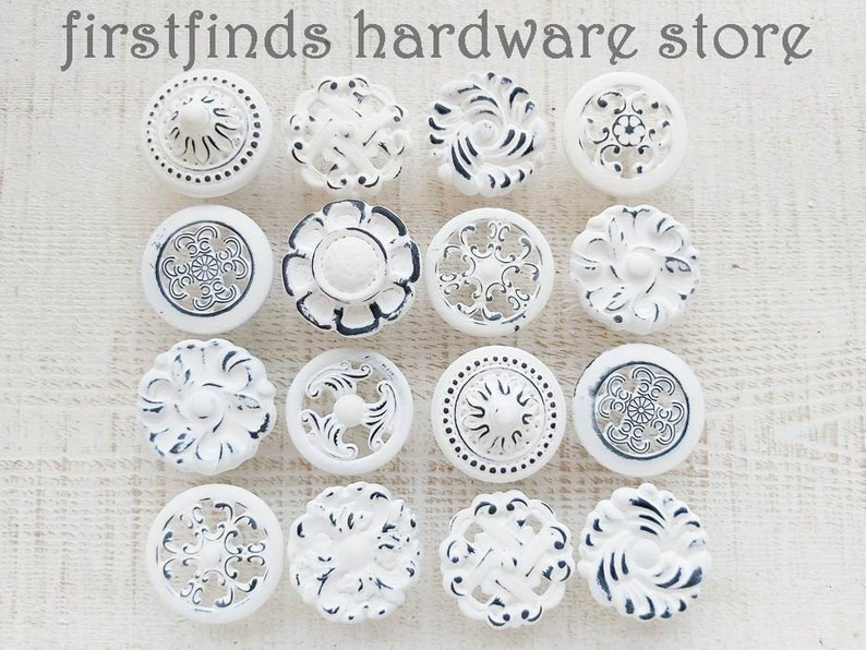READY TO SHIP 16 Misfit White Knobs Shabby Chic Distressed image 0