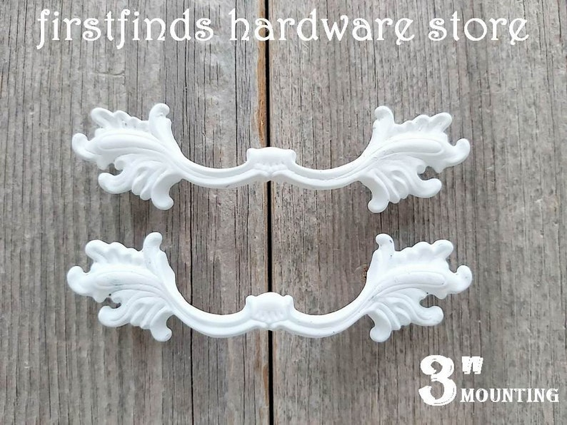 SET OF 2 Shabby Chic Drawer Pulls White Handles Hardware Solid White