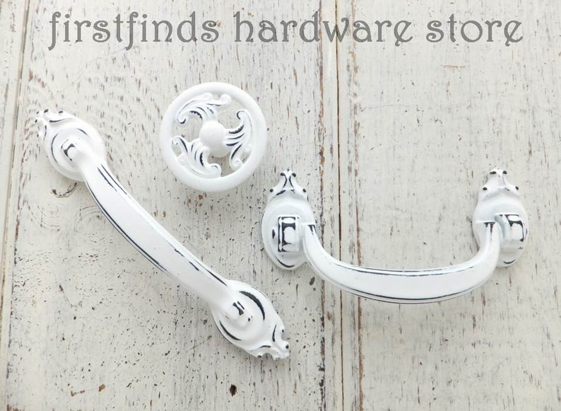 SET OF 2 English Crown Handles and Knob Shabby Chic White image 0