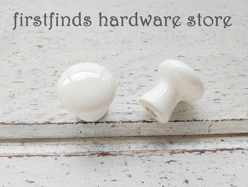 SETS OF 4 Ready to Ship White Vintage Ceramic Knobs Farmhouse image 0