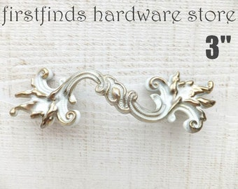 French Provincial Drawer Handles Original White & Gold or Painted Distressed Shabby Chic Pull Hardware Screw Included 3inch Mounting