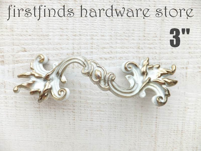 SETS OF French Provincial Drawer Handles Original White & Gold image 0