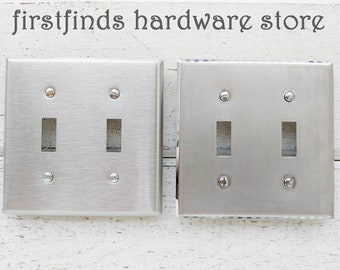 Reclaimed Metal Light Switch Double Toggle Plates Farmhouse Electrical Covers Rustic Metal Silver Brushed Chrome Toggle Screws Included