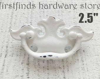 2 Shabby Chic White Drawer Pulls Chippendale Swing Handles Furniture Metal  Dresser Painted Cabinet Hardware 2.5