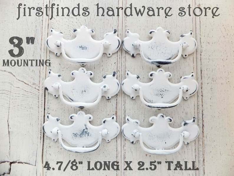 SET OF 6 Shabby Chic White Distressed Drawer Pulls Furniture image 0
