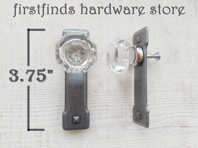 READY TO SHIP 2 Glass Knobs Vintage Metal Back Plates Cabinet image 0