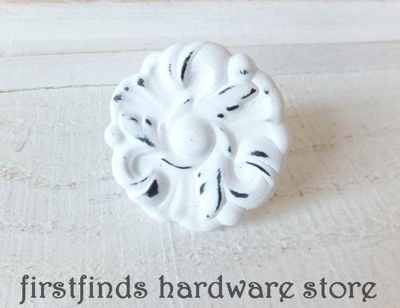 White Knob Shabby Chic Drawer Pull Hardware Farmhouse Kitchen image 0