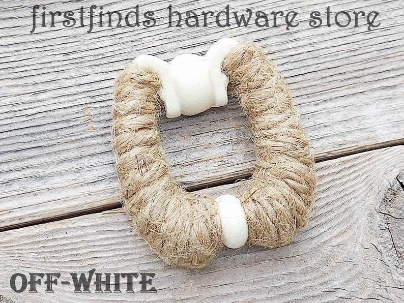Rope Wrapped Ring Pull Painted White Beach Reclaimed Cabinet Solid off-white