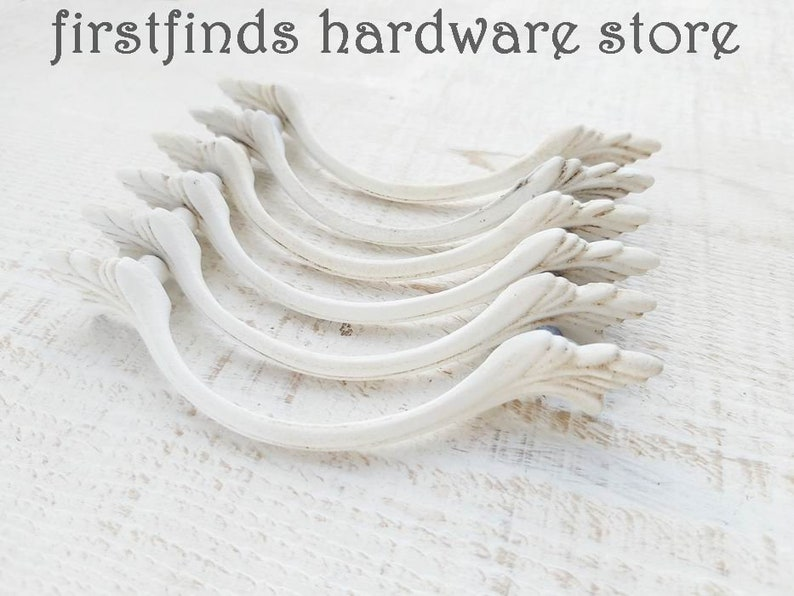 SETS OF 2 Off-White Rustic Antiqued Cabinet Handles Shabby image 3