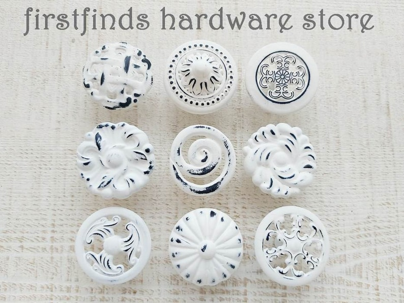 READY TO SHIP Set of 9 Knobs Shabby Chic Drawer Pulls Misfit image 0