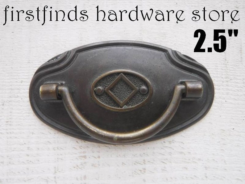 SET OF 6 Bronze Drawer Pulls Italian Cabinet Handle Metal image 0